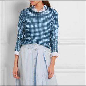 J.CREW Tippi Sweater Gingham Blue Wool Sweater XS